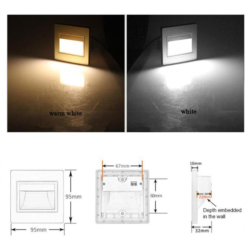 New 3W LED COB Wall light Modern LED Footlight Stair Lights Step Light Night Lamp Recessed with 86 BOX silver white gold