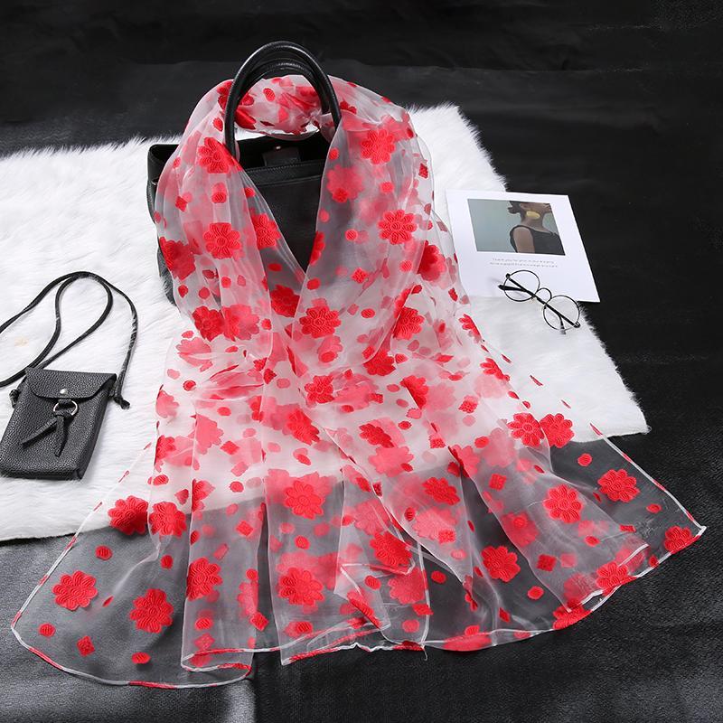 Шелковый шарф женщин Summer Breeze Легкий Sheer Wrap органзы марли шарф S9076 201006