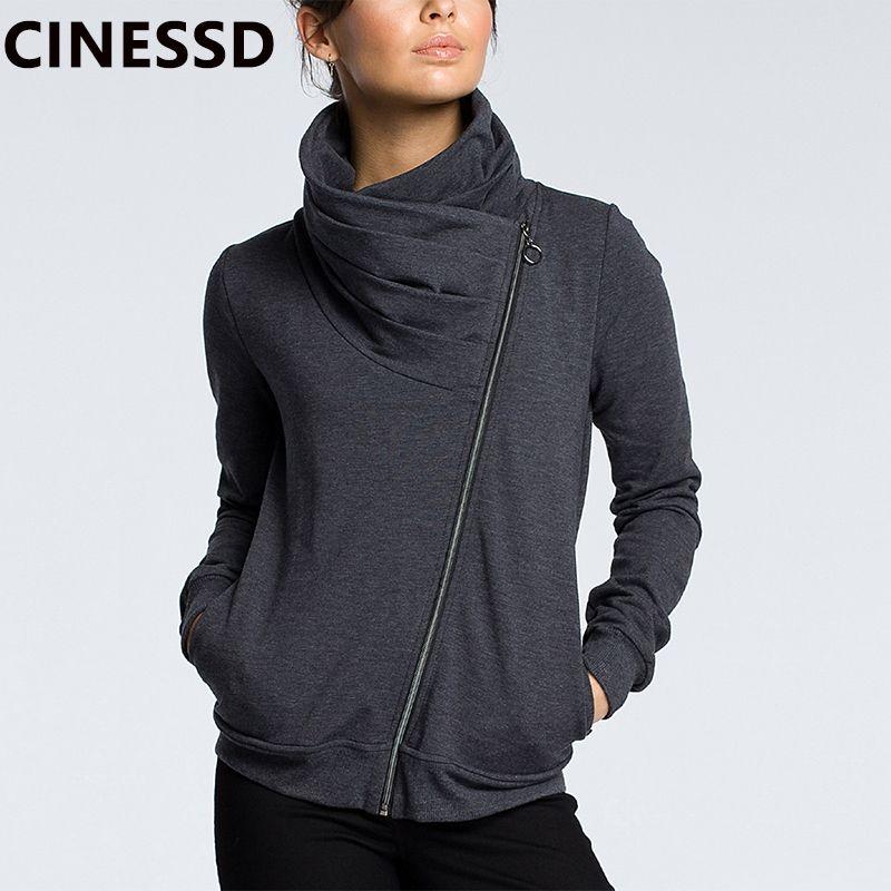 Cinessd 2019 Sonbahar Kış Ceket Ceket Kadınlar Down Yaka Uzun Kollu Fermuar Hırka Casual Hoodies Kazak Cepleri ile 200928