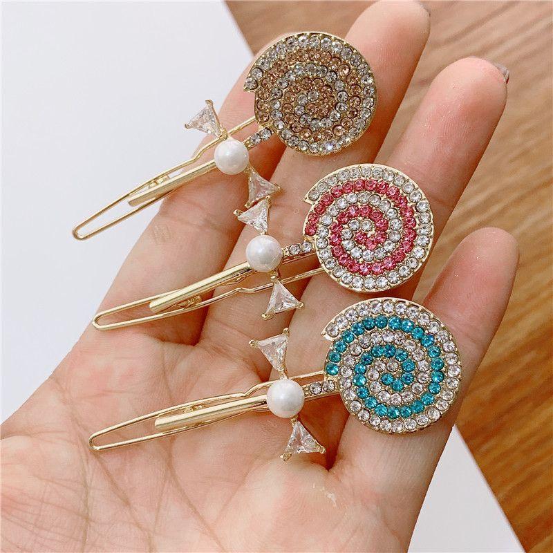 Candy Color Girl Women Hairpin Barrettes Charm Lollipop Hairclips Cute Rhinestone Hair Clip Hair Accessories