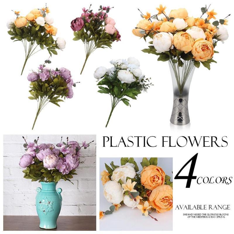 Pfingstrose DIY-Partei-Dekoration Vintage-Pfingstrose-künstliche Seidenblumen Hochzeit Fake Flowers Festival Supplies Home Decor Bouquet