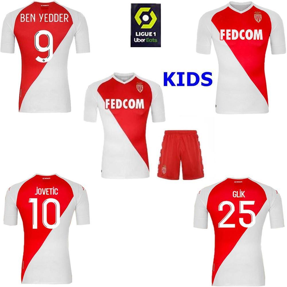 Acquista 2020 2021 Top Quality AS Monaco BEN Yedder Maglie Calcio JOVETIC GOLOVIN Football Shirt 20 21 Maglia Flocage JORGE Kit Bambino Uomo Uniforme ...