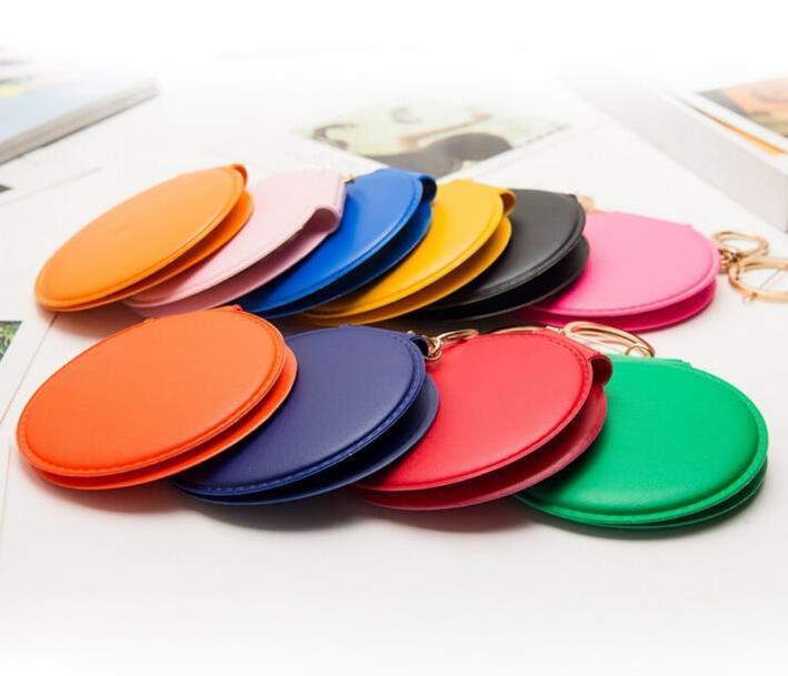 Fabrika Fiyatı Toptan Anahtarlık Ayna Katlanabilir Makyaj Ayna Anahtarlık PU Deri Anahtarlık Çanta kolye Çanta Charm