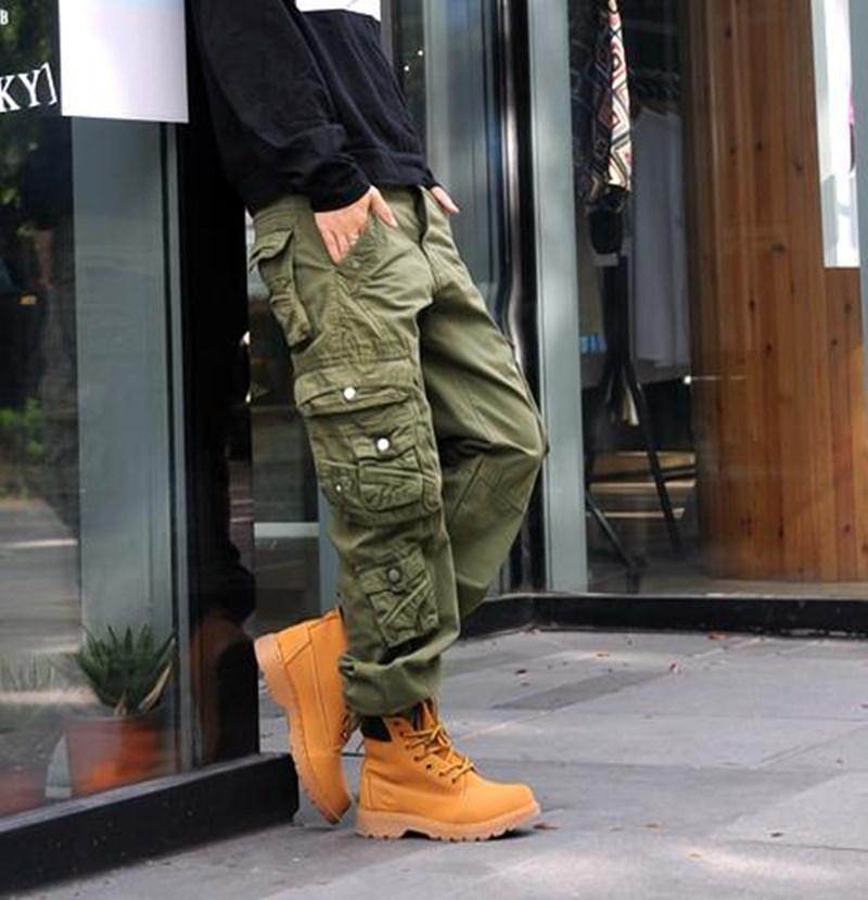 Womens Fashion Cargo Pants Casual Harem tattico militare Ragazze Pantalone multi tasche jogging Streetwear pantaloni solidi di colore della caramella più il formato