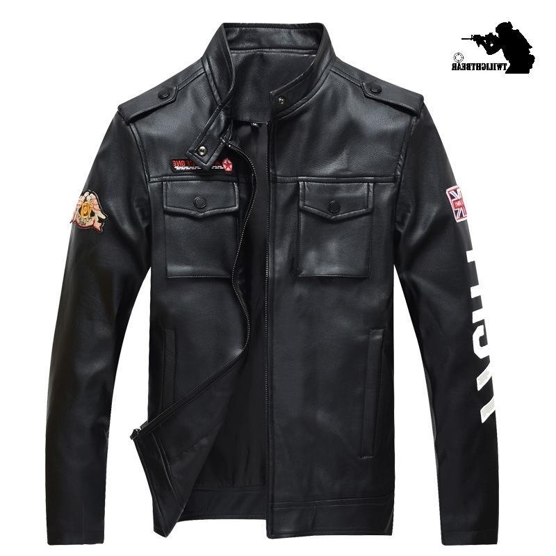 NOUVEAU Homme Homme 4XL PU Noir Bombardier Militat Military Hommes Cuir Veste Veste De Marque Vêtements Chevaliers Outwear BF2606