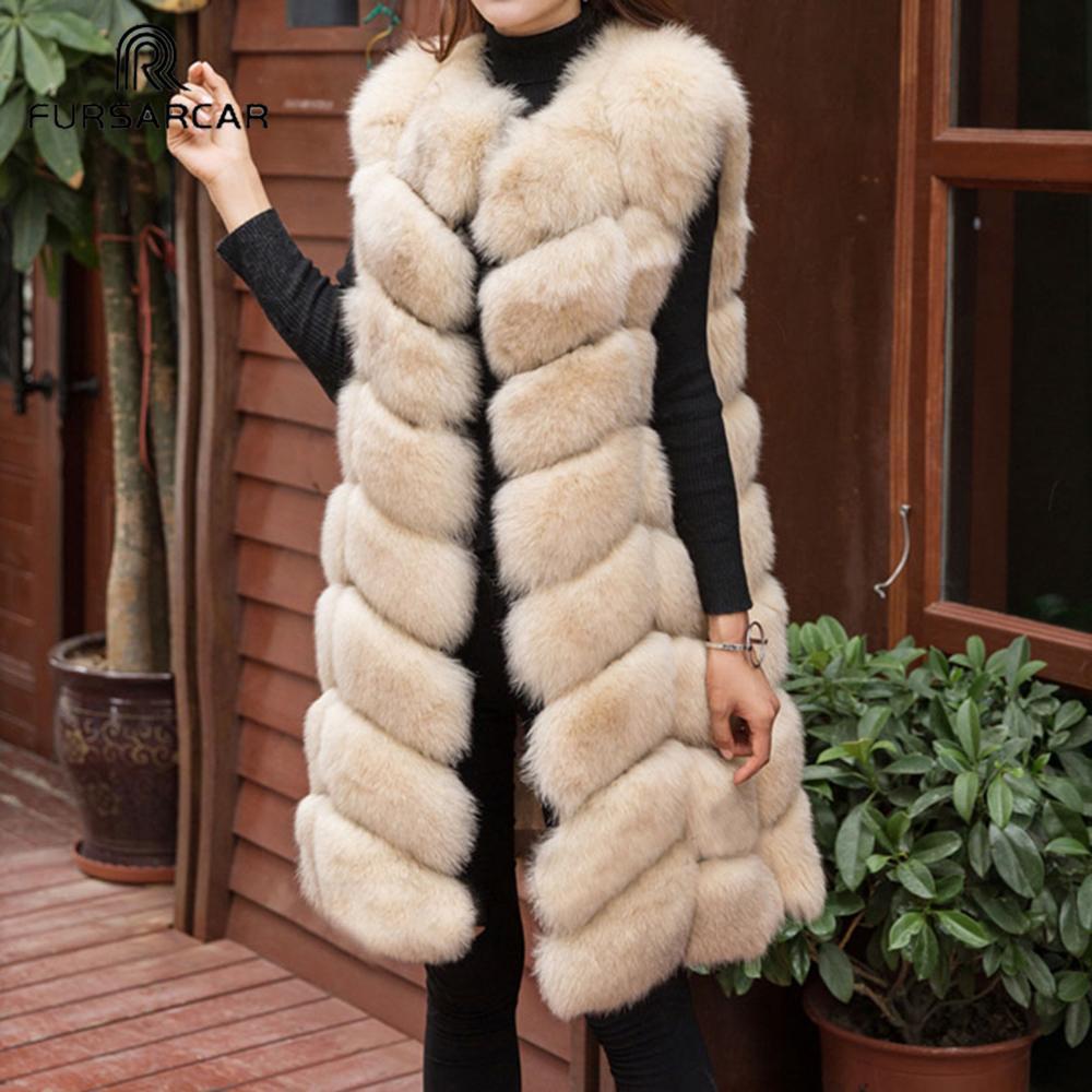FURSARCAR Kadın 90cm Uzun Gerçek Fox Kürk Yelek Moda Lüks Bayan Fox Kürk jile Sonbahar Kış Natürel Kalın Sıcak Coat Veste201016