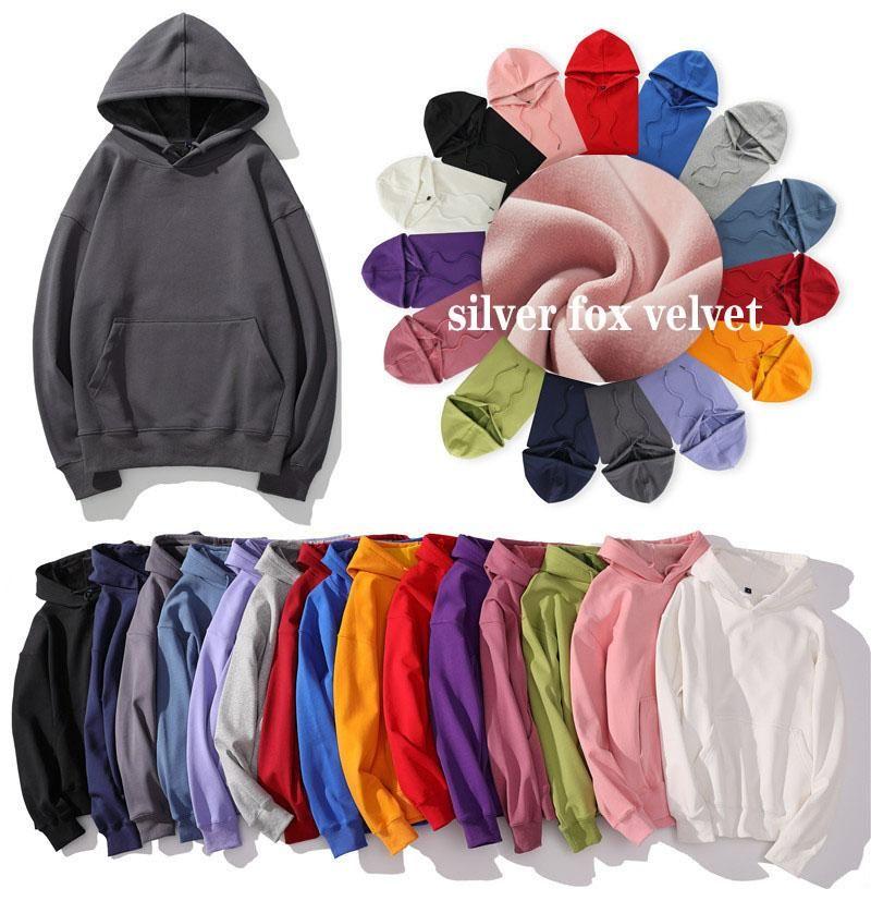 inverno hoodies degli uomini 2020 Felpa marchio di moda caldi solidi felpe con cappuccio di velluto color argento uomini hoody abbigliamento maschile