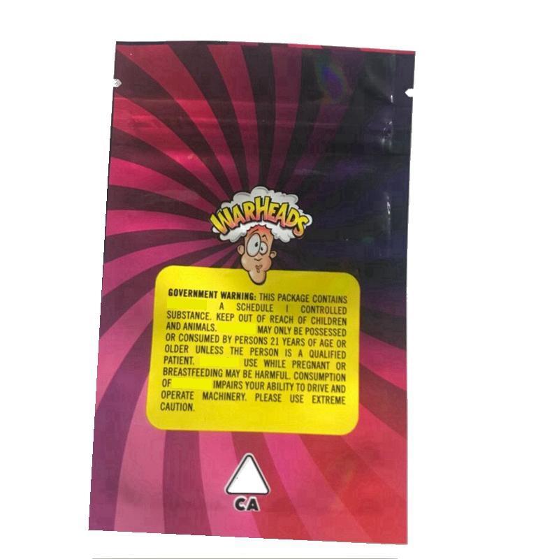 2021SY Yeni İlaçlı Warheads Çanta 500mg İlaçlı Ekşi Twists Jöle Fasulye Chewy Küpleri Yemekleri Paketleme Çantası Şeker Mylar Çanta Ktijc