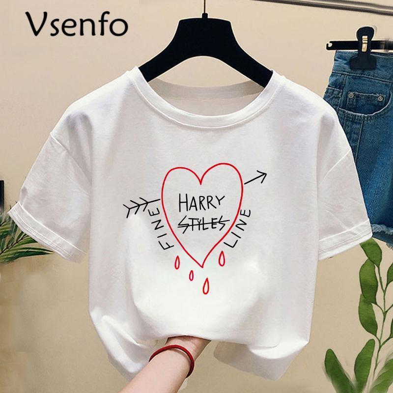 Hip Hop Harry Styles Camiseta Mujeres Hombres Fine Line Love en Tour T Shirt Harajuku Summer Tshirt Feminina Graphic T Shirts