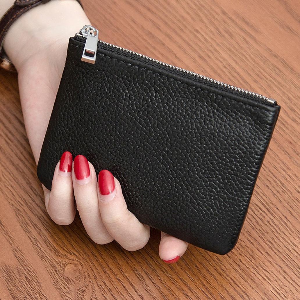 جلد البقر والنساء مصغرة محفظة رقيقة جدا جلد سستة عملة قصيرة الأموال حقيبة اليد مفتاح حقيبة بطاقة حقيبة المرأة
