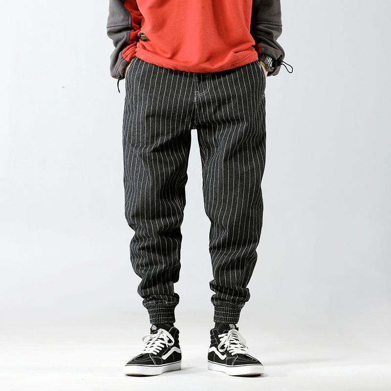 2021 New Fashion Streetwear Men Jeans Loose Fit Casual Stripe Cargo Pants Hombre Japanese Vintage Designer Hip Hop Joggers Harem Trousers F8
