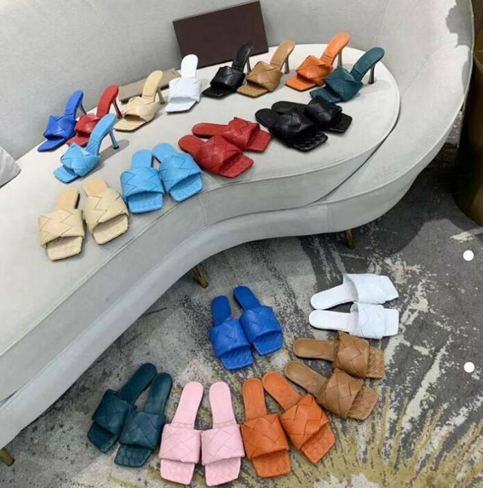 2021 Высочайшее качество Женщина Лидо Сандалии квадратный носок Высокие каблуки с открытым пальцем сплетенные плоские тапочки дизайнер лето все-матч стилист обувь каблука 9см A1