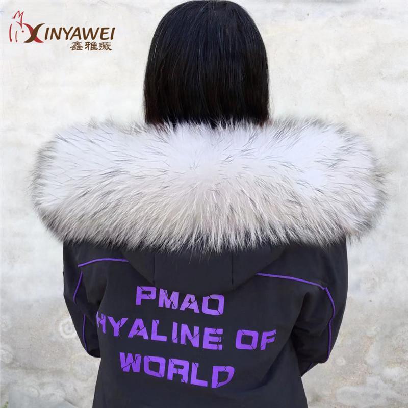2021 новая мода длинный настоящий меховой воротник для женщин зима 100% енотский меховой шарф воротник с теплой шейной воротником 1