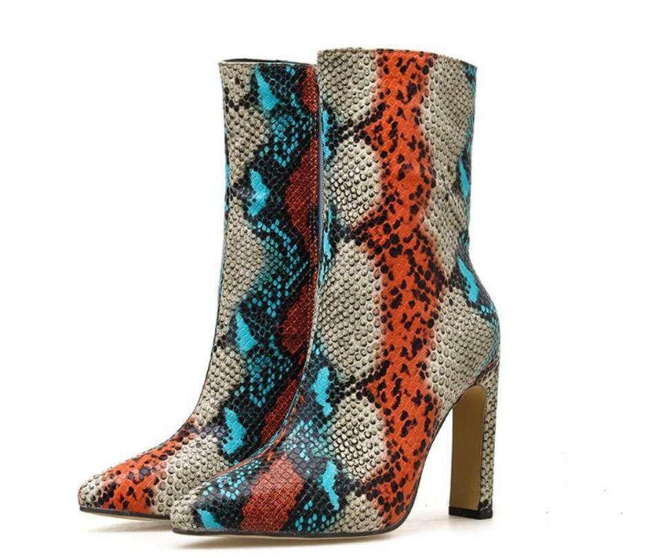 Kalın yüksek topuklu bayan moda botları 35-42 yılan derisi renkli Kış moda botlar