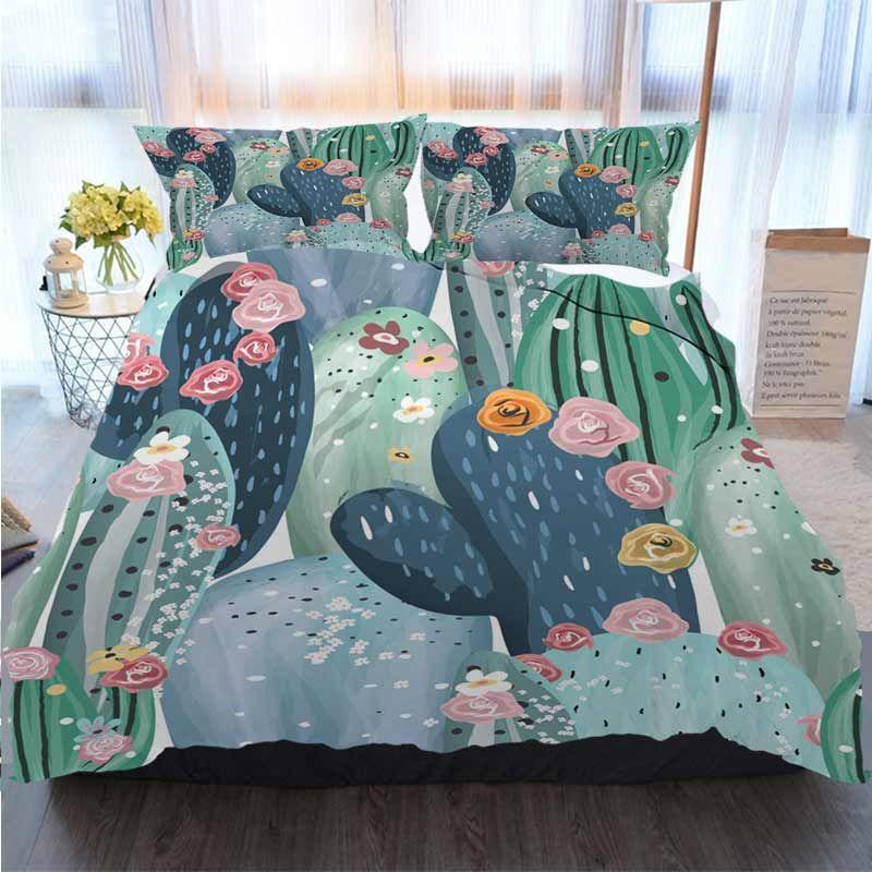 Frohe Weihnachten Bettbezug-Set Schöne Pastellweinlese Cactuses Succulents Cacti Muster Quilt Bettwäsche Tröster Bettwäsche-Sets