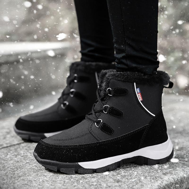Invierno nuevas mujeres botas de nieve 2020 señoras de encaje hasta Casual Grueso inferior de arranque de arranque Mujeres zapatos caliente antideslizantes resistentes al desgaste