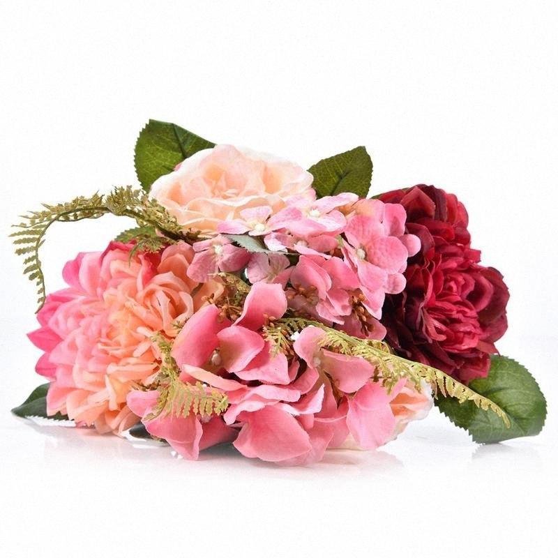 Decoração Bouquet Artificial Silk Hydrangea Pompon Flor para casamento elegante e bonito Artificial Bouquet Rápida Entrega AsM7 #