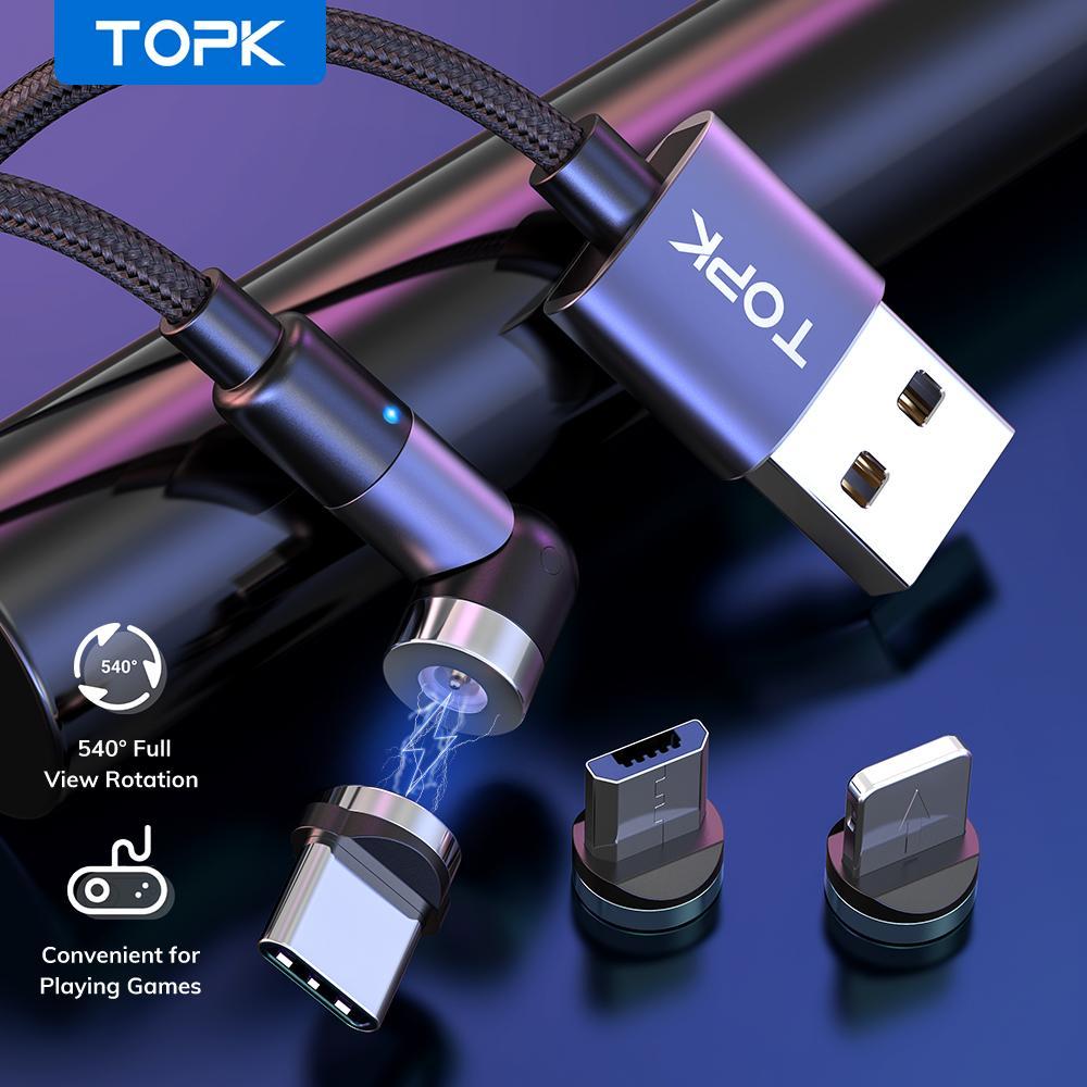 Topk 마그네틱 마이크로 USB 유형 C 케이블 자기 충전 케이블 전화 Xiaomi 삼성 휴대 전화 충전기 자석 USB 와이어 코드