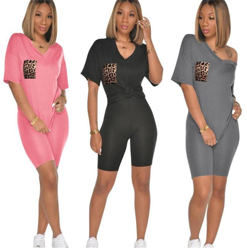 Women Tracksuit Camouflage Pocket Tops Short Sleeve Summer V-neck T-shirt Tees Shorts Sets 2 Piece Clothing Outfits Sport Suits New LY704