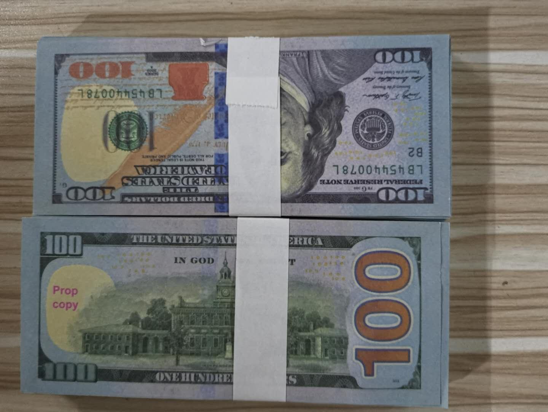 1Imitation dólar, euro, libra, cine y televisión apoyos, dólar de EE.UU., los niños saben billetes de práctica 100 fichas de billetes