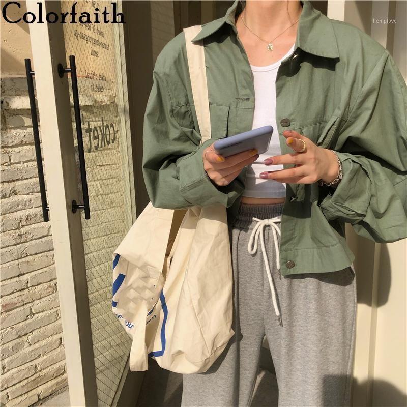 Colorfaith New 2020 Autunno Giacca da donna Inverno Tasche Casual Casual Cargo Vesterwear Buttons Oversize Short Tops JK63261