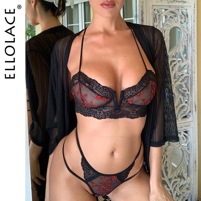 Ellolace Sexy Fashion Spitze-Unterwäsche Set Frauen Stickerei transaprent BH Slip Sets 2019 Mesh-Unterwäsche Zwei 2 Stück Wäsche-Satz-C1114