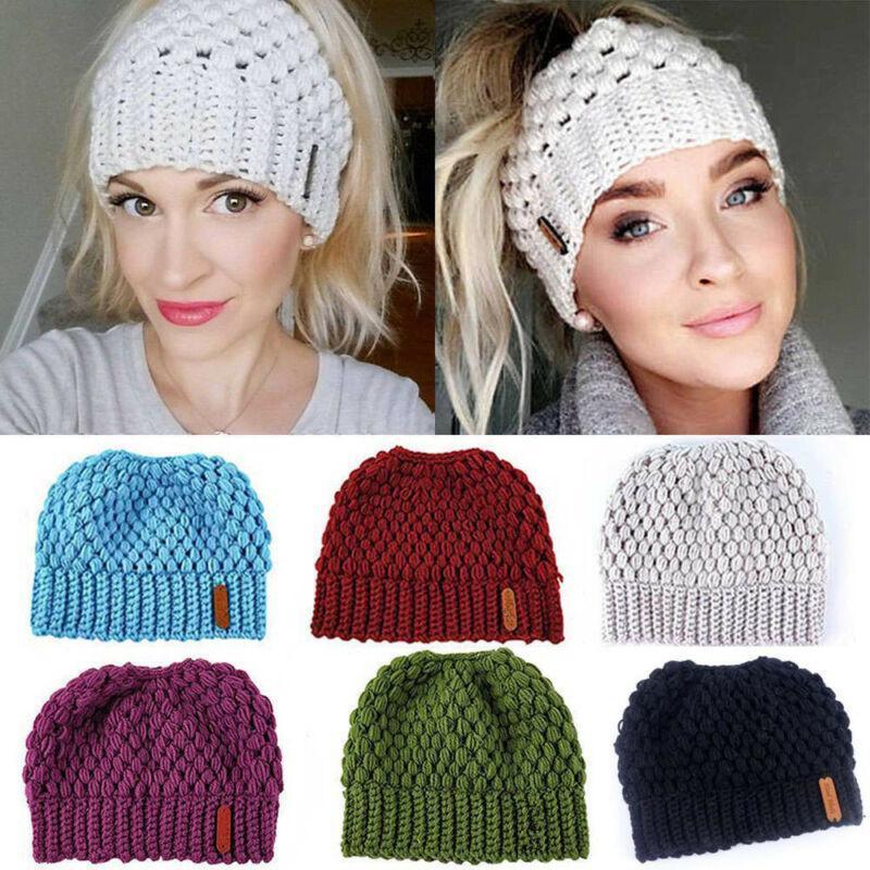 Marka Moda Kadınlar Beanie Hat Lady Beanie Kuyruk Dağınık Yumuşak Bun Örme Cap Kafatası Sıkı Kış Sıcak Şapka Aksesuarlar