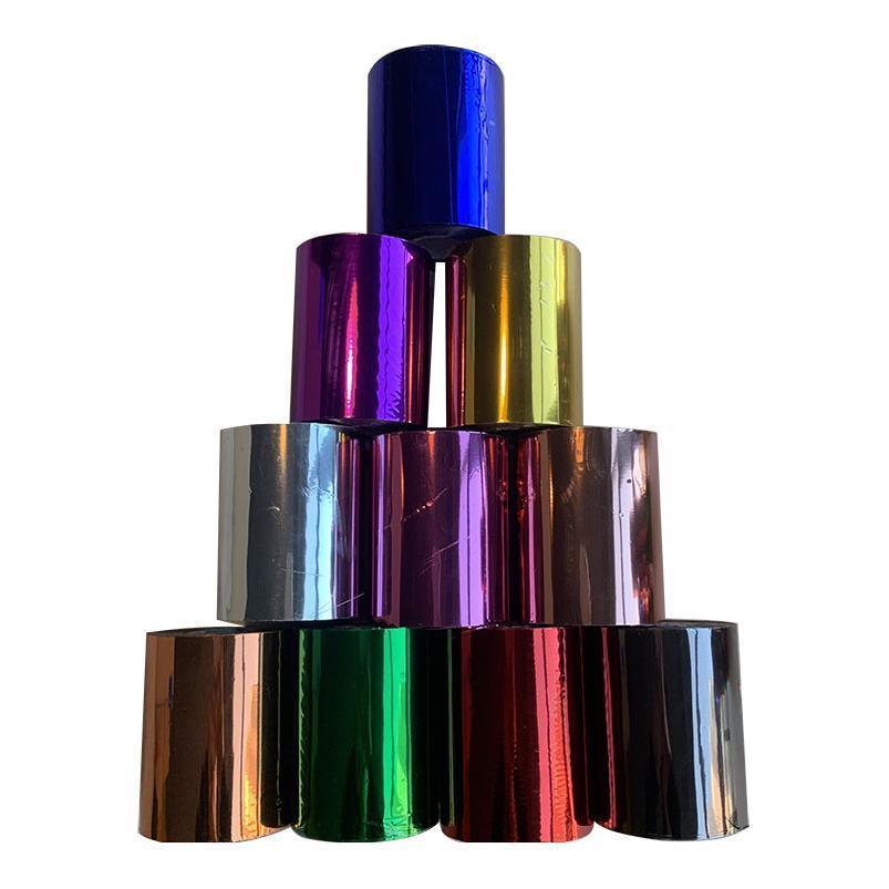 1 rotolo 21cmx120m 10 colori timbratura a caldo stagnola calore trasferimento di calore per laminazione tovagliolo doratura in PVC Business car Qylfdx