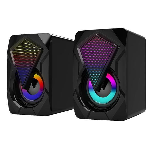 Компьютерные колонки 2.0 USB Gaming Stereo Проводная PC Speaker с света RGB 3,5 мм Aux Вход для телефона таблетки ноутбуков