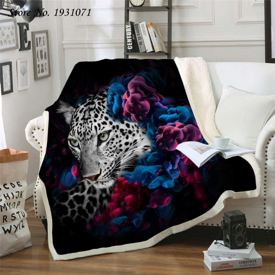 Leopard Tiger Lion 3d Printed Fleece for Beds Thick Quilt Fashion Bedspread Sherpa Throw Blanket Adults Kids 11 388V