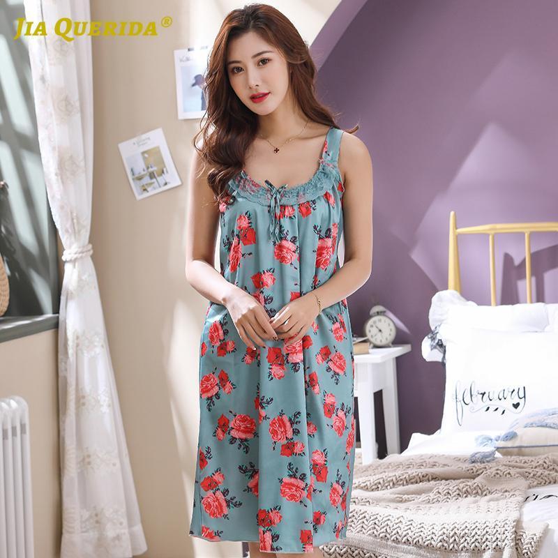 Inizio Abito lungo camicia verde donna Abbigliamento modo di stile di usura casuale di stile Notte Notte abito degli indumenti di sonno Dress Plus Size