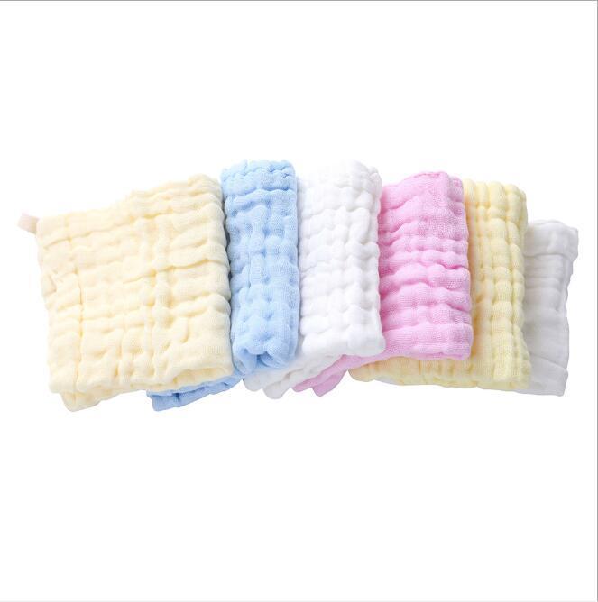 Toalla Bebé Toallas de algodón puro recién nacido Handkerchief Muslin Toalla de algodón Plaza Plaza Cara de Niño Toallas Wrap Snowdler Bibs ZZC4420