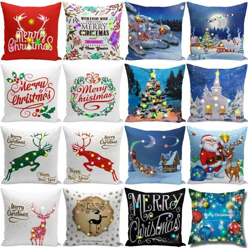 Christmas LED Case 45*45cm Plush Home Sofa Decorative Throw Pillowcase Lighted Creative Pillow Cover DHA1841