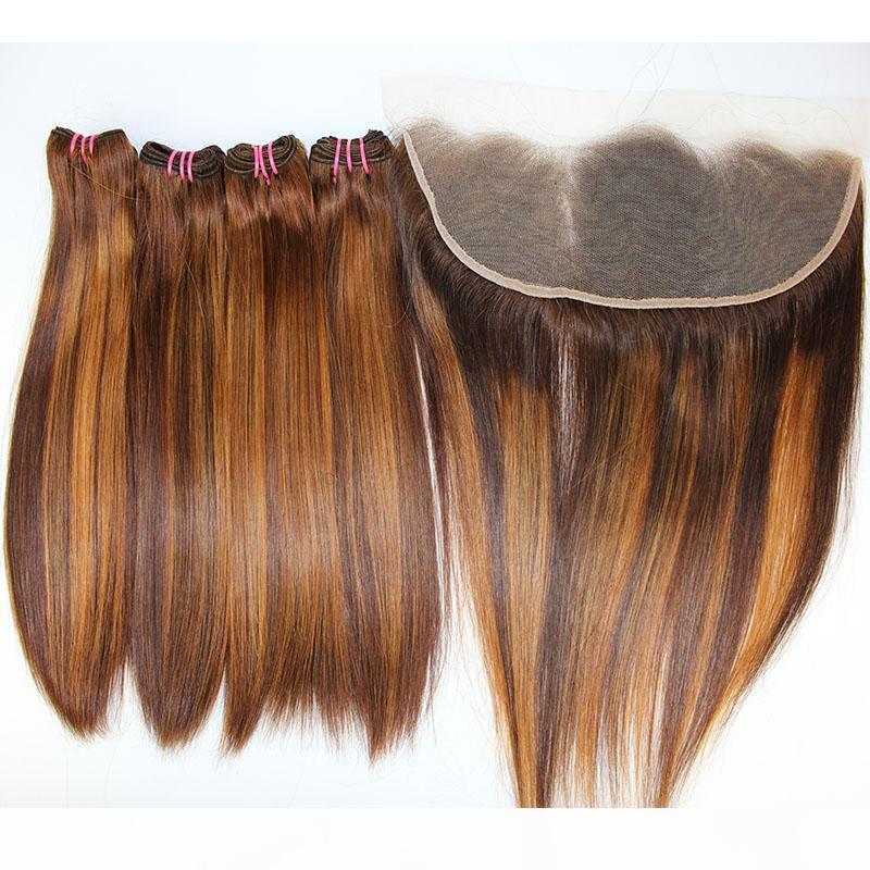 Dilys Brezilyalı 13x4 Kapatma 8-22 inç ile Dantel Frontal Karışık Renkli Hint Bakire İnsan saç örgüleri ile Düz Funmi Saç Paketler