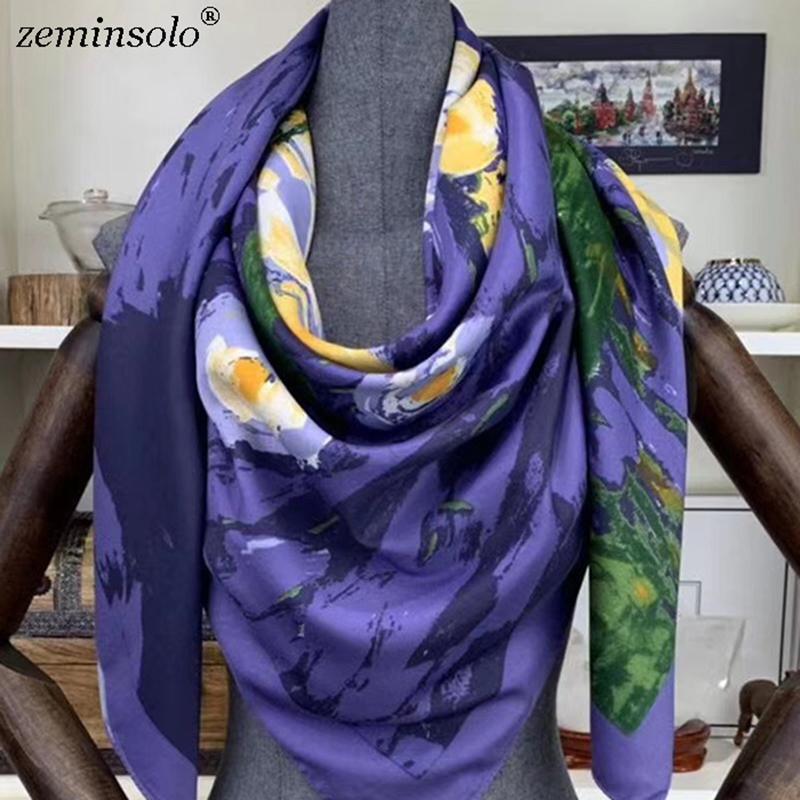 2020 Grandes bufandas 130 * 130cm Mujeres Pañuelo cuadrado de la bufanda de seda impresa manera Hijab Mujeres Bufandas Chales mayorista