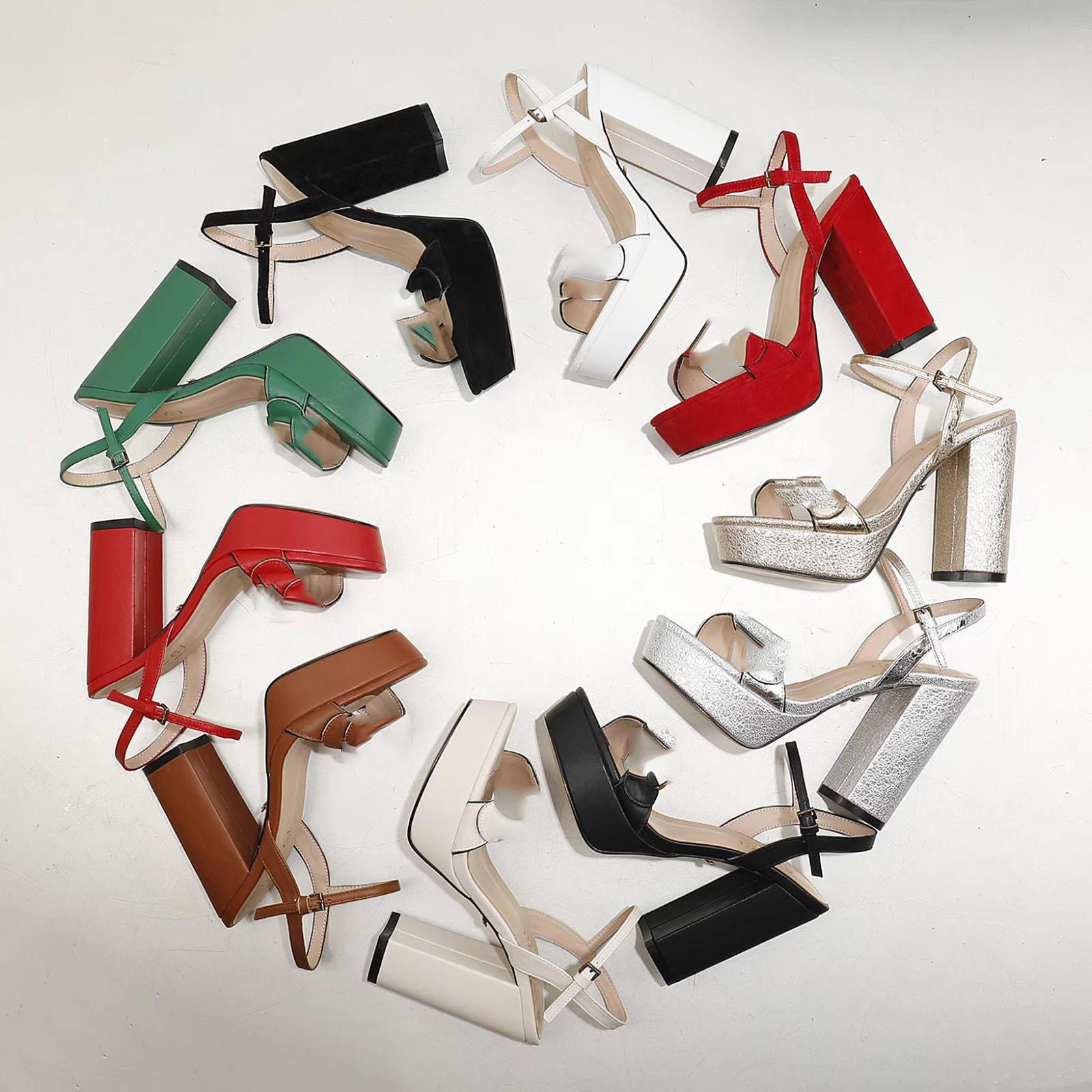 2020 New Designer High Talons Sandals Mode Femme Cuir Noir Chunky Heel Plateforme Chaussures Chaussures Filles En plein air Sexy Pompes Sude Grande taille 9 # G10