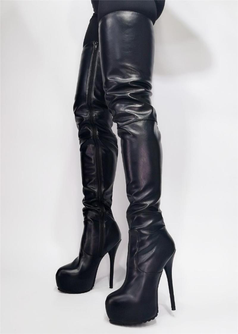 Botas mujer muslo alto plataforma club fiesta show sobre las rodillas zapatos de entrepierna mujer mujer botines botines mujer más size471