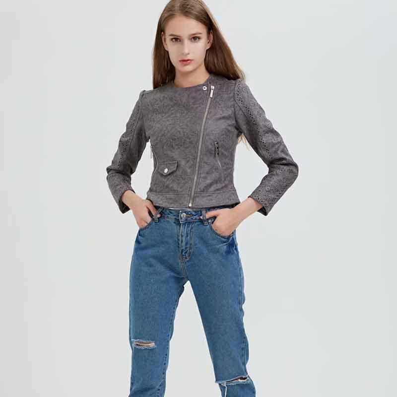 Vestes pour femmes Klacwaya 2021 Femmes d'automne Femmes Faux Suisse Cuir motard à manches longues Zipper Streetwear creux