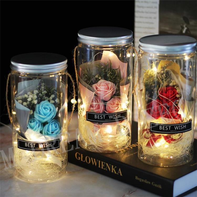 El Yapımı LED Sabun Çiçek Dilek Şişeleri Kurutulmuş Çiçekler Sevgililer Günü Hediyesi Yapay Çiçek Düğün Dekorasyon Anneler Günü DHL tarafından Sürpriz