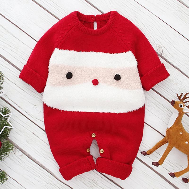 Neue Karikatur Weihnachtsbaby-Jungen-Mädchen-Langarm-Strampler Kleidung Herbst-Winter-Baby-Mädchen-Kinder-Strick Strampler 201028