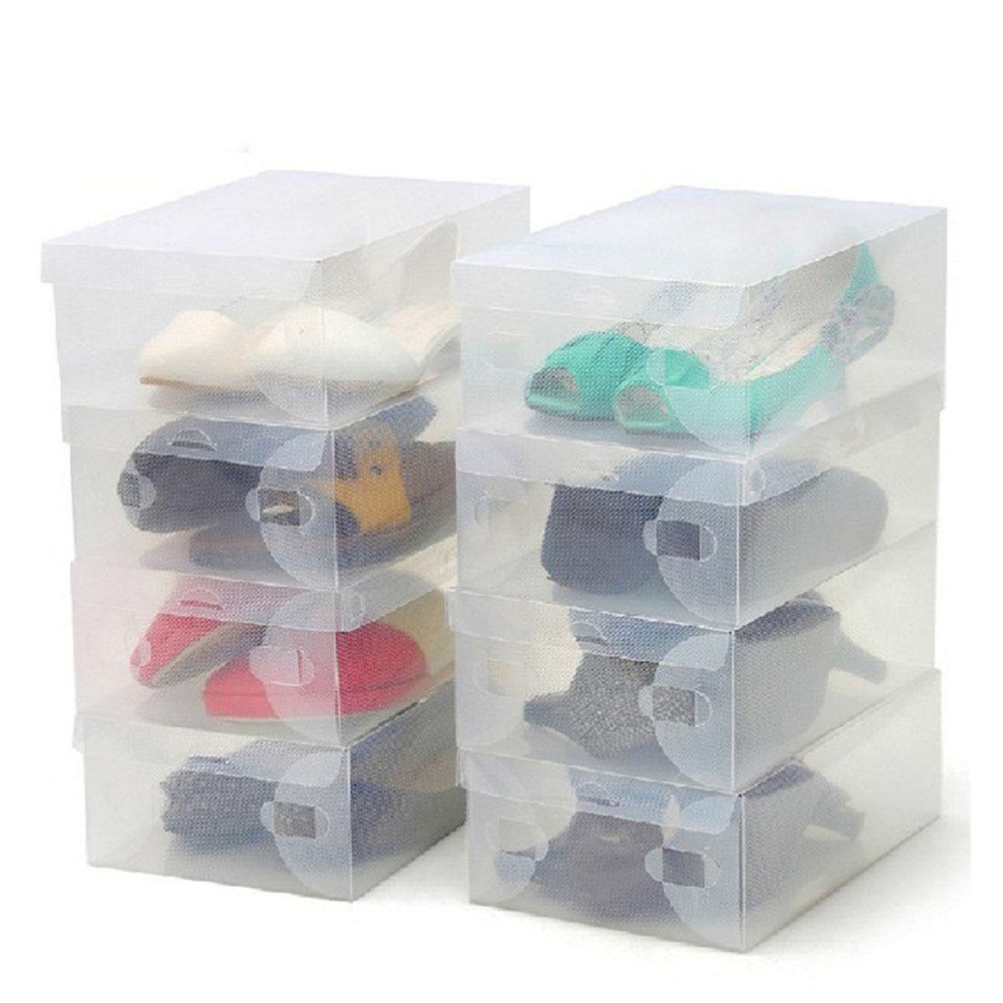 Üst Satış 10 Ad Şeffaf Makyaj Organizatör Temizle Plastik Ayakkabı Saklama Kutuları Katlanabilir Ayakkabı Vaka Tutucu Ev Faydalı Araçlar Y1113