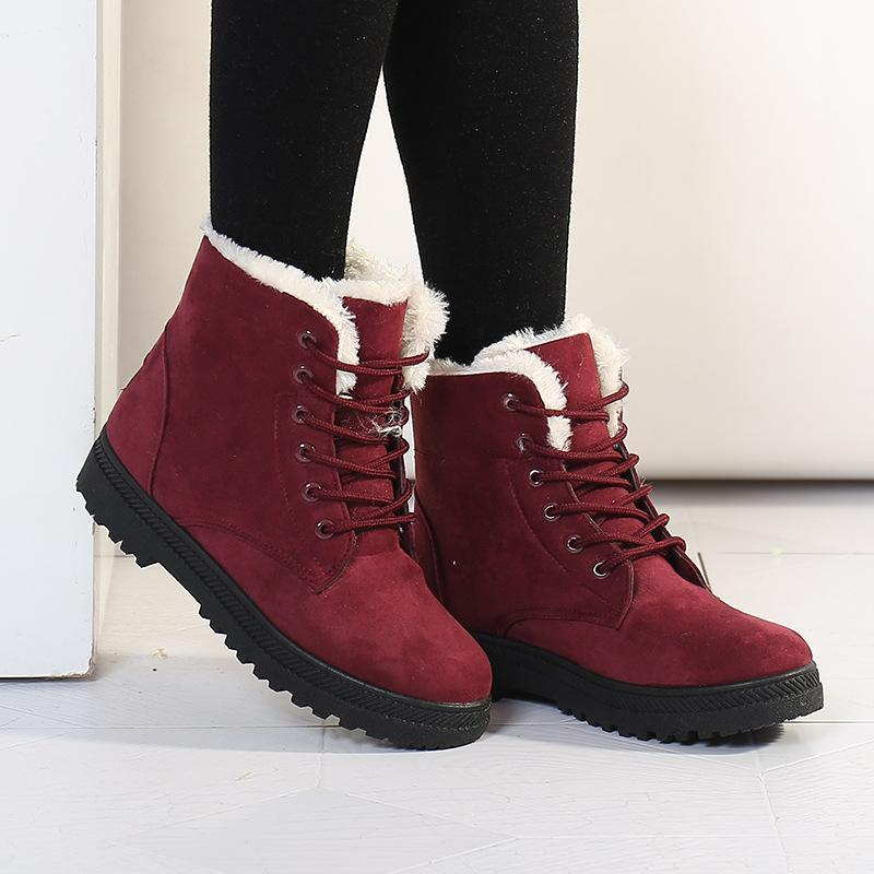 2020 Winter Boots Women Ankle Boots Warm PU Plush Winter Woman Shoes Sneakers Flats Lace Up Ladies Shoes Women Short Snow
