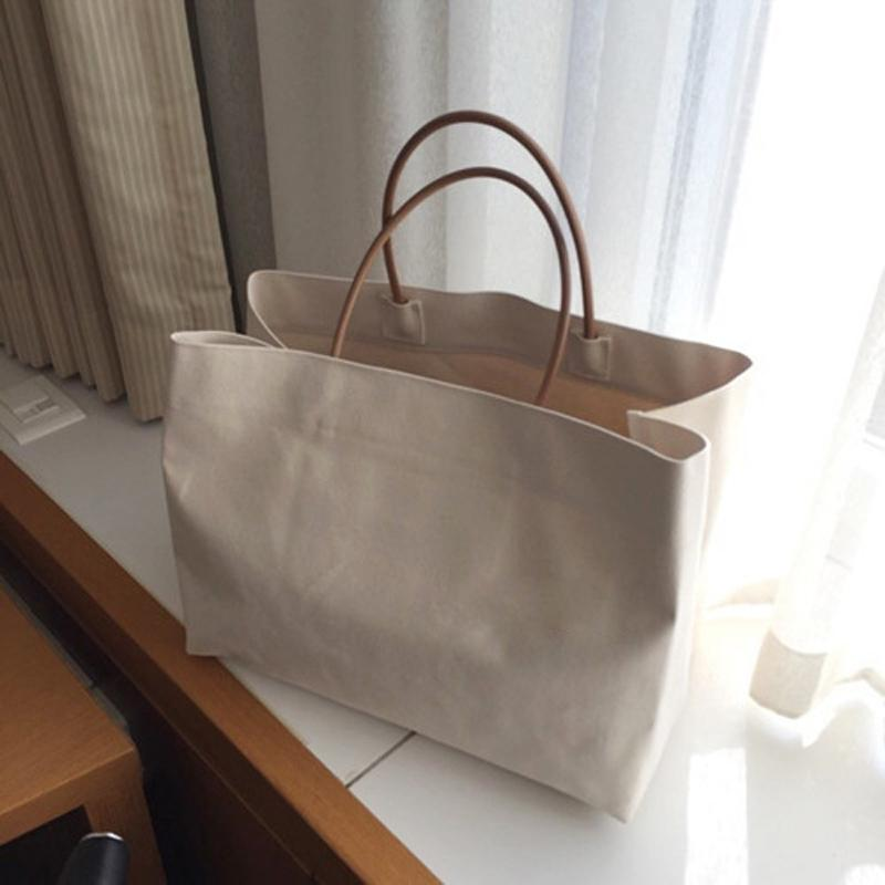Large Shopping Summer White Casual Jumbo Canvas Totes Beach Shoulder Bag Q1109