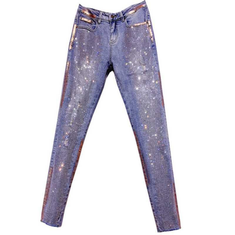 2020 molla di colore di modo di autunno di diamanti piedi dei jeans alte donne della vita dei jeans scarni della matita Plus Size