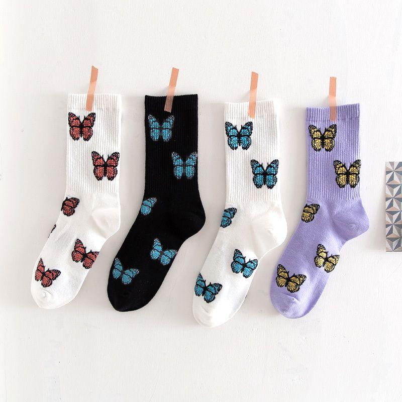 3 пар / комплект Новой бабочки носки Женщины Streetwear Harajuku Crew Женщина Носки Мода ЕС Размер 35-40 Dropshipping Поставка 200929