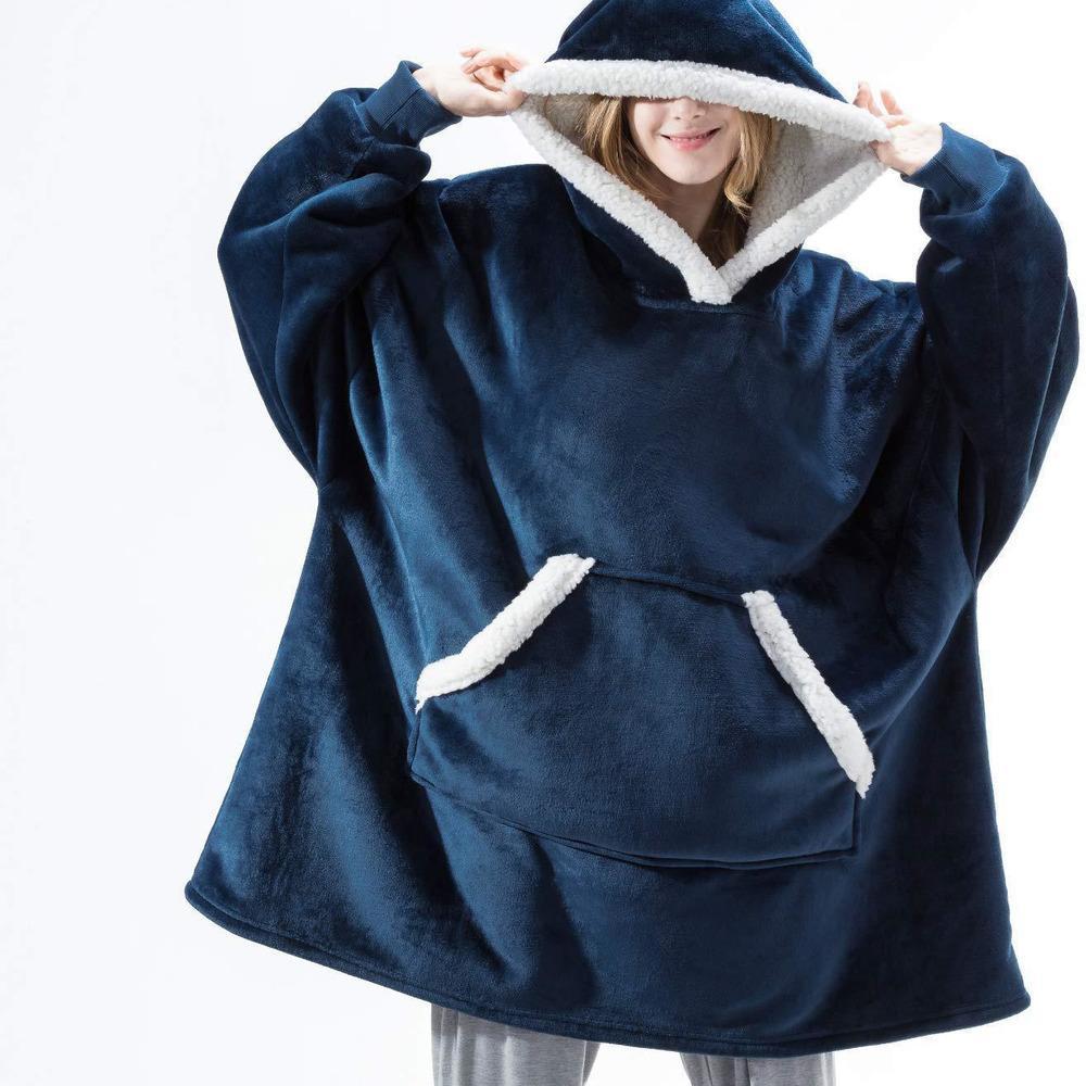 Kollu Büyük Boy Hoodie Polar Sıcak Hoodies Tişörtü Dev Tv Battaniye Kadınlar Hoody Robe Casaco Feminino C1225