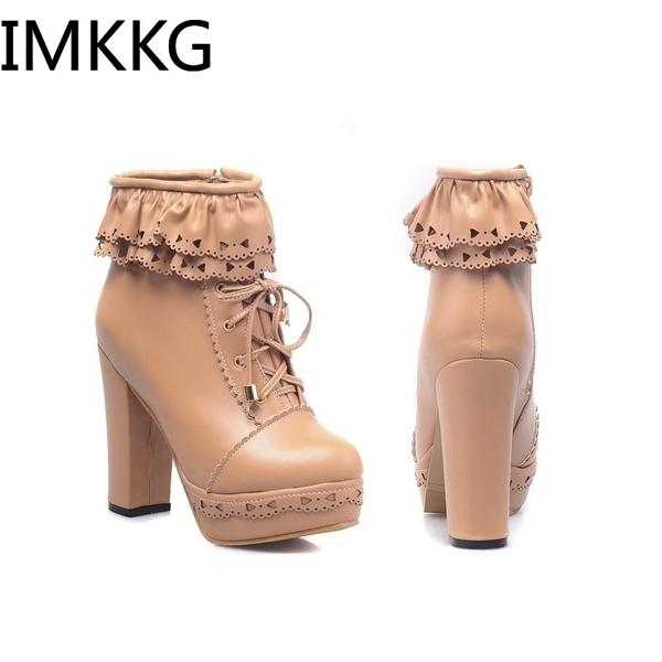 Hot Sale Women Autumn Fashion Leather Round Toe Lace Up Platform Chunky High Heel Ladies Motorcycle Ankle Boots 6 Colors Snow Boots