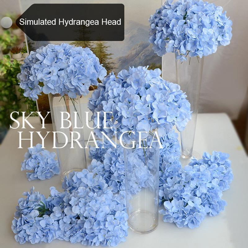 Alta Hydrangea Artificial Bouquet Flores flor de seda com livre-tronco para Início de casamento Decoração do presente LG66