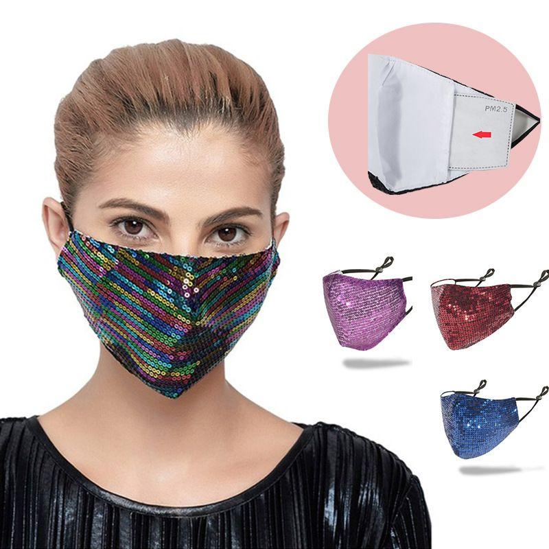 Paillettes bling Soins du visage glace de la mode soie douce 3D lavable réutilisable adulte Masque PM2,5 visage pare-soleil brillant Coude couverture Masques bouche