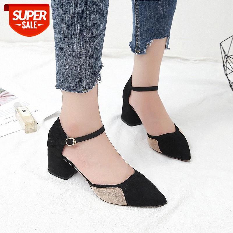 2019 New Pattern Moda Moda Coreano Edition Wild Donne Thick Heel Heel High Heel Shallow Bocca appuntita Scarpe singole Tyu789 # PD1N
